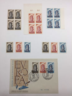 Luxembourg 1956 - multiple Europa Echafaudage with FDC