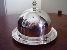 Butter dish in Italian Silver 800 and crystal. Greggio, 20th century