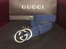 Gucci - Unisex belt in blue suede - *No minimum price*