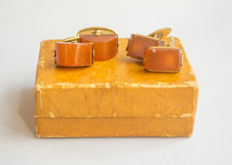 Two pair of Natural Baltic Amber vintage cuff links, with original box, natural cognac/honey colour Amber