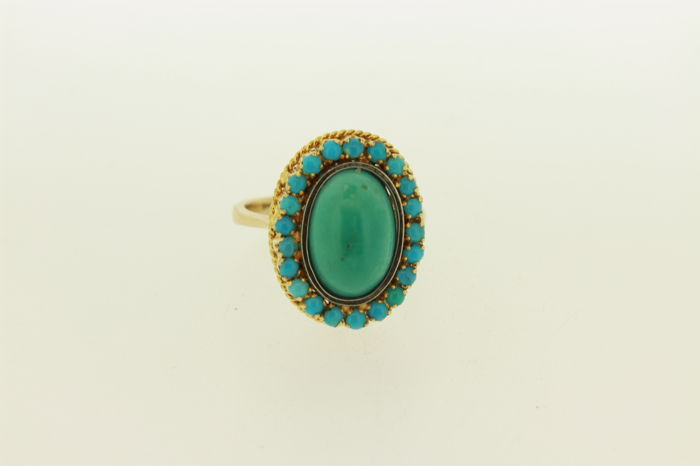 Rosette ring with natural turquoise
