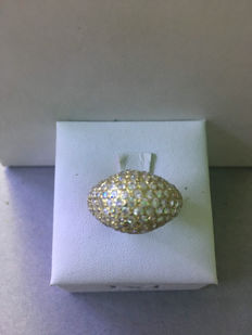 18 ct gold ring with zircons - size: 14
