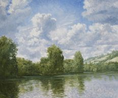 Chris van Dijk (1952) - River Landscape / Cumulus Clouds on a Summer Day