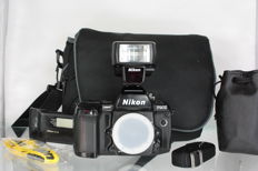 Nikon F90X with Nikon Speedlight SB-23 Flash, Nikon MF-26 control back and handy camera shoulder bag by Peter Hadley (2618)