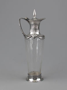 WMF - Art Nouveau cut glass wine decanter with silver-plated mounts, Vienna Secession