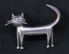 Cat brooch in silver-plated metal, edition Comité Jean Cocteau