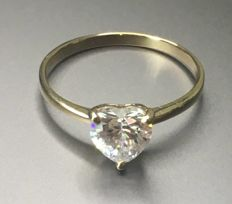 14K 585  Gold Ring with Created Moissanites - US Size 7.5