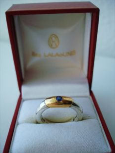 Ilias Lalaounis - Hallmarked - Deco style Ring in 925 Solid Silver and 18K Gold with Sapphire in original box - size 7 or N UK or 54 EU