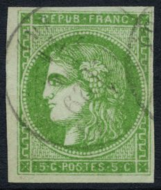 France 1870 - Cérès Bordeaux, 5c greenish-yellow - Yvert no. 42 B.