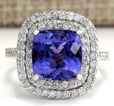 6.09 Carat Tanzanite And Diamond Ring 14K Solid White Gold - Ring Size: 7  *** Free shipping *** No Reserve *** Free Resizing