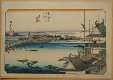 "Woodblock print by Utagawa Hiroshige (1797-1858) from the series ""Fifty-Three Stations of the Tokaido"" (Hoeido edition, reprint) – Japan - around 1900"