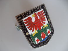 "Radiator grille badge - ""Internationals Porsche 356 Treffen Meran"" 8,5 cm x 10 cm - approx. 2009"