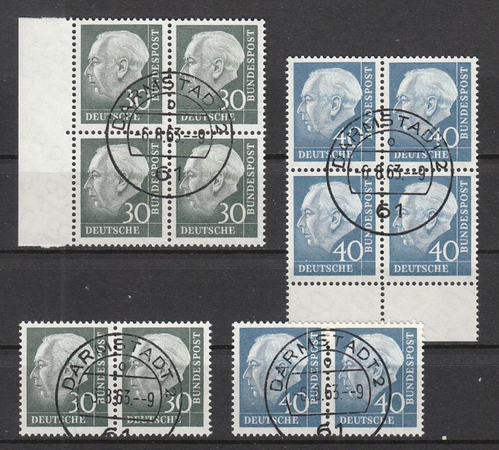 Federal Republic of Germany 1956 - Dauerserie Heuss 30+40 Pfennig in cancelled blocks of four and pairs - Michel NN. 259x/260x