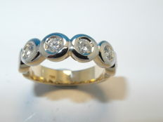 Women's ring semi-memory made of 585 gold/14 kt with 6 brilliants approx. 0.60 ct - ring size 56/18