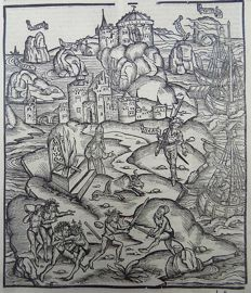 Grüninger Master - Illustrated post-incunabula leaf - Harpies Sword Fighting, Islands of Strophades from Virgil's Aeneid, Shrine of Apollo - 1529