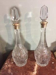 pair of bottles of crystal and silver lid, Bohemia, 20th century