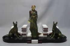 L. Levine - Woman with 2 dogs - Large Art Deco zamac sculpture