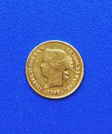 Spain - 1 gold peso Philippines 1868 - Isabel II Manila