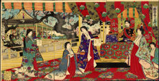 Woodcut triptych by Toyohara Chikanobu (1838-1912) 'Spring Felicitations in Japanese Brocade' - Japan - 1885
