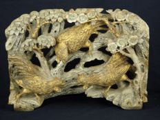 Large gold gilt solid wood carving of three roosters  - China - 19th century