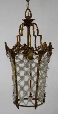 Bronze and glass chandelier - Italy - 20th century