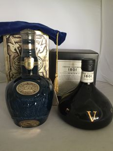 2 bottles - Blue decanter Royal Salute 21 and decanter 1801 Special Selection.