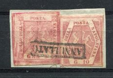 Naples, 1858 – 5 grana and 10 grana on fragment, Sass. nos. 9 and 11.