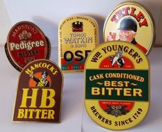 5x Vintage Beer Brass Pub Pump Clips - Tetley/Hb/Marstons - End 20th century