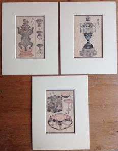 Three pastel-coloured woodcuts in a clean passe-partout. Various depictions - Japan - approx. 1880