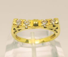 Cocktail ring in 18 kt yellow gold with zirconias – 18.5 mm