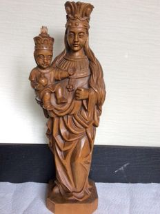 Old large wooden statue of Mary hand-carved first half 20th century