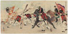 Original triptych woodcut by Migita Toshihide (1863–1925) - 'Great Victory of our Troops at the Fall of Asan' - Japan - 1894