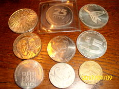 Israel, various coins (9 pieces) with silver