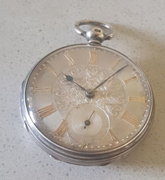 24. William Webster & Son Airdrie - silver pocket watch with silver dial -  - England 1840