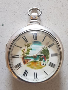 25. BarwiseE St. Martins Lane London - silver verge watch with hunter in an English landscape - circa 1810