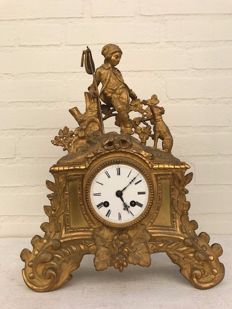 French, bronze, gold-plated Charles Dix pendulum clock - Japy Frères - 1850 period