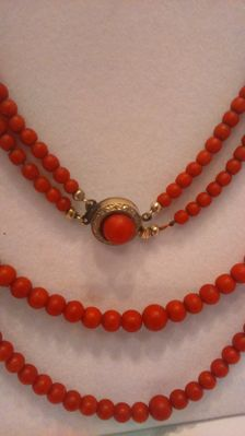 Coral necklace 2 rows