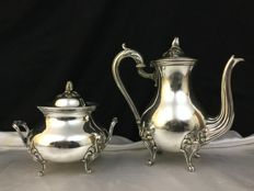 Coffee pot and sugar bowl, silver plated metal, Christofle brand, France
