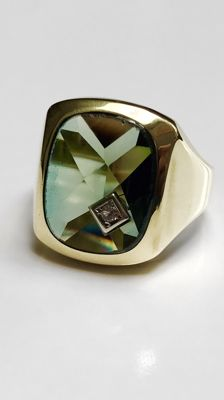 Solid man's ring with tourmaline 585/14 kt gold - ring size 20,5 (64).