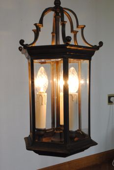 Bronze hall lantern with bevelled glass, 20th century