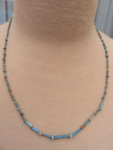Egyptian necklace with faience beads - Late Period, 664-332 BC - 53 cm