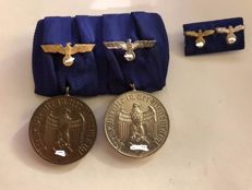 Double clasp with service awards for 4 and 12 years with the imperial eagle - and clasp with the imperial eagle - WWII