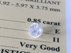 Diamond – 0.85 ct - E / I1 - VG/VG/VG ** No Reserve **