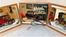 Lot of 3 beautiful mirrors with antique cars - Musée National de l'automobile Mulhouse and old lion from Peugeot