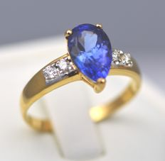 14k Gold Tanzanite 1.4ct ,& Diamond 0.16t Ring , Size L , 12 , 52.