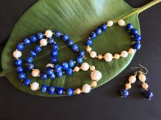 New Handmade 18 and 14 KT Jellow Gold Parure Freshwater Cultured Pearls and Lapis Lazuli - Necklace  Bracelet and Earrings