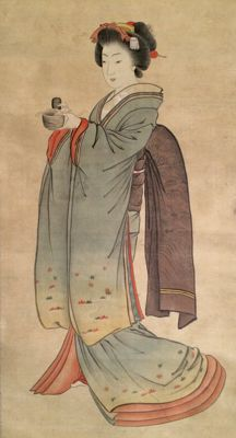 """Very old scroll painting on cloth - 'Bijin (美人)' - signed and stamped """"Tanka"""" - Japan - ca. 1850"""