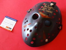 """Friday the 13th - Jason Voorhees signed mask - signed by Jason Voorhees actor Ari Lehman from part 1 with extra inscription """"Boy in the lake"""""""