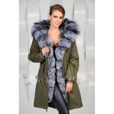Military green cotton jacket with rabbit fur lining with a silver fox fur hood