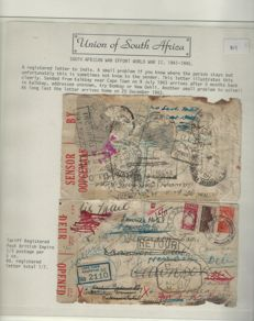 South Africa 1941/1945 - War Effort World War II, 6 letters, including a rare stray letter, 5 months with censure / marks.